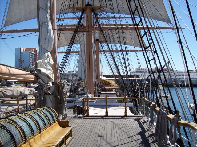 View of the Star of India ship in San Diego, Seaport Village